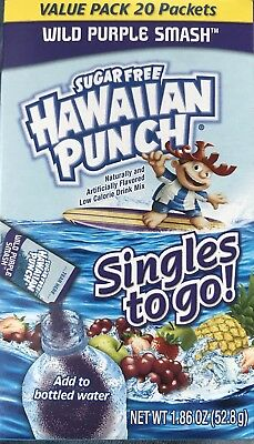 40 Packets Hawaiian Punch Wild Purple Smash Singles to Go Sugar Free Drink Mix
