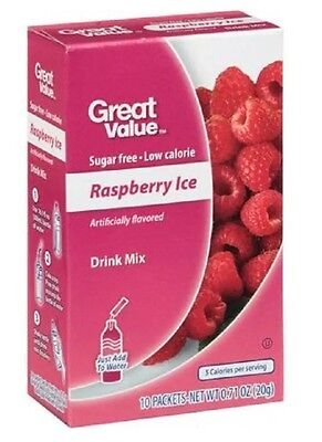Great Value Raspberry Ice ~ On The Go ~ Drink Mix Water Enhancer ~ 10 ct