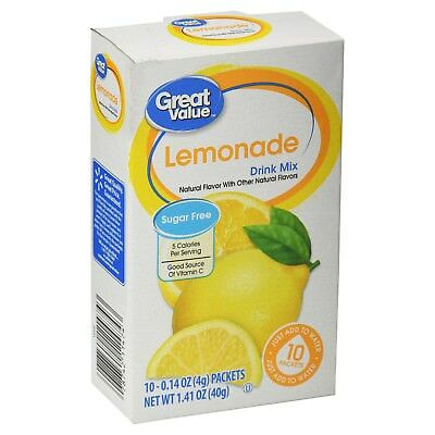 Great Value Lemonade ~ On The Go ~ Drink Mix Water Enhancer ~ 10 ct