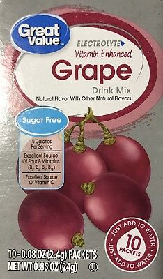6 Boxes Of Great Value Vitamin Enhanced Grape Sugar Free Low Calorie Drink Mix