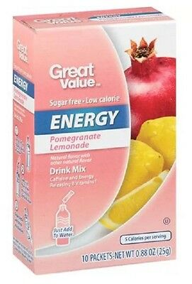 2 Boxes Great Value Pomegranate Lemon Energy On The Go Drink Mix Water Enhancer