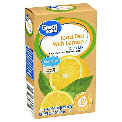 2 Boxes Of Great Value Iced Tea with Lemon ~ On The Go Drink Mix Water Enhancer