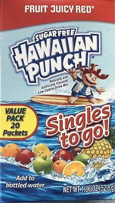 40 Packets Hawaiian Punch Fruit Juicy Red Singles to Go Sugar Free Drink Mix