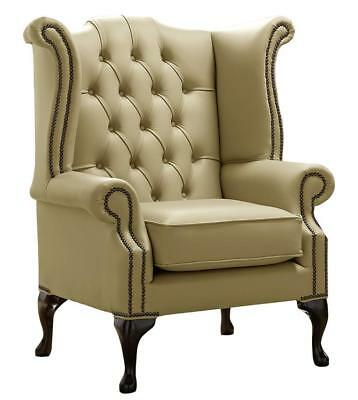 Chesterfield Armchair Queen Anne High Back Wing Chair Golders Green Leather