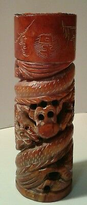 vintage Chinese carved dragon soapstone wax seal signed