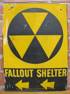 Orig Old FALLOUT SHELTER Sign Cold War Era DoD Galvanized Steel Left Arrows