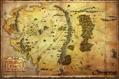 The Hobbit Map of Middle Earth Maxi Poster 91,5 x 61 cm