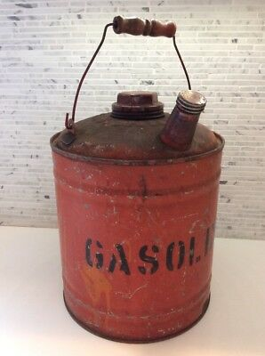 Vintage Red Metal Gas Can Antique Gasoline AutoCar Truck Farm Tractor Very Good!