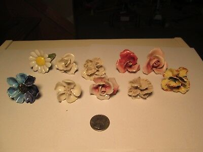 TT$ Vtg Lot of 10 Small Porcelain Flowers With Stems Chandelier Parts Blue Pink
