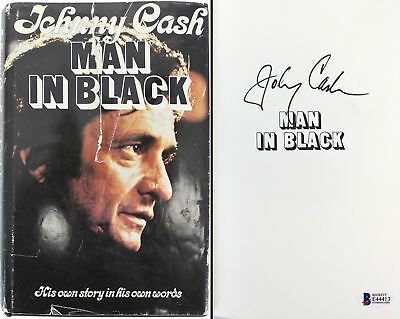 Johnny Cash Authentic Signed Man In Black Hard Cover Book BAS #E44413
