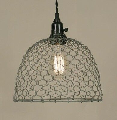 Farm House Country Rustic Chicken Wire Hanging Dome Pendant Light - Barn Roof