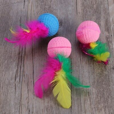 3pcs Pet Cat Kitten Rolling Scratching Sponge Ball Funny Play Feather Toy