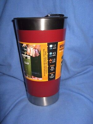 New STANLEY PINT {16 oz} Vacuum Insulated RED MUG Stainless Steel HOT COLD