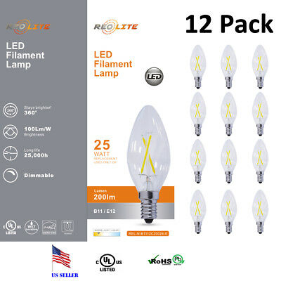 3W Chandelier Flicker Flame Bulb E12 Small Decorative Chandelier Light Bulbs(12 Pack) 110V E12 Candelabra Base Clear Flame Tip Candelabra Replacement