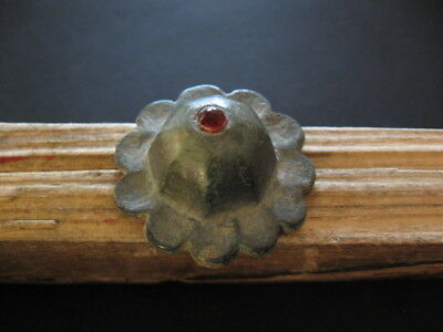 Octagonal Sun With Red Glass Stone Ancient Celtic Bronze Amulet 300-100 B.c.