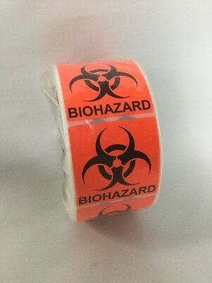 """500 Labels 2"""" x 2"""" BIOHAZARD Shipping Warning Stickers Roll Florescent Red/Orang"""