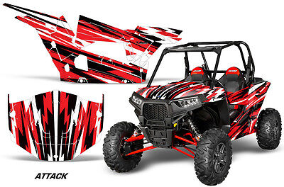 UTV Graphics Kit SxS Decal Sticker Wrap For Polaris RZR XP 1000 14-18 ATTACK RED