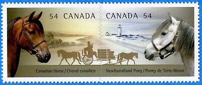 2009 Canada #2330i Canadian Horse Newfoundland Pony Die Cut Pair Stamp Mint-NH
