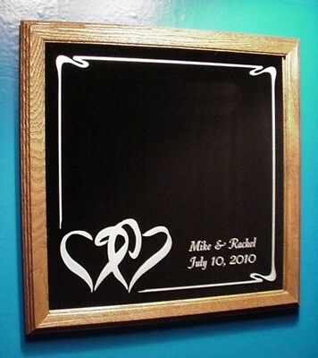 Abstract Hearts Etched Wedding Mirror Wood Frame Personalized Custom Names Date