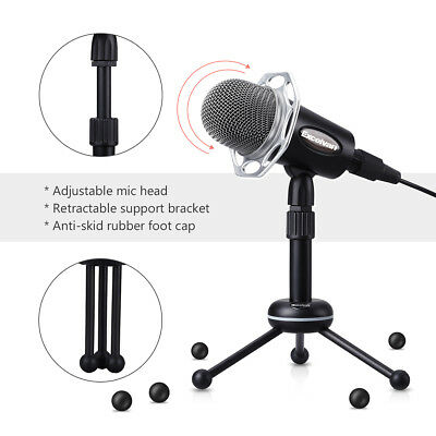 USB Desktop Condenser Microphone Mic Audio For Studio Recording W/Tripod Stand