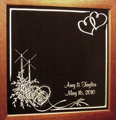 Candles & Hearts Etched Wedding Mirror Wood Frame Personalized Custom Names Date