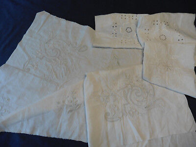 5 Antique Embroidered panels whitework, pulled thread work, Anna beautiful
