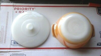 VTG Anchor Hocking Fire King #437 Peach Luster Casserole Dish with Lid 1 1/2 Qt.