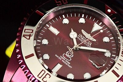 27535 Invicta Grand Diver 300M Automatic Burgundy Stainless Steel Band Watch NEW