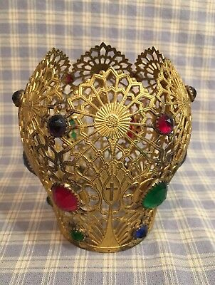 """Antique French Late 1800's Gilded Brass Filigree Crown with jewels 4-1/8"""" tall"""