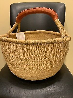 large Handmade NATURAL Ghana BOLGA Market Basket w/ Leather Handle
