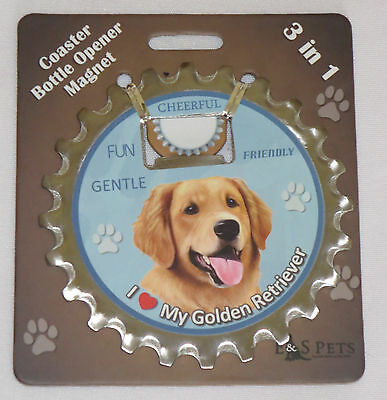 Golden Retriever Coaster Bottle Opener Magnet 3 in 1 Dogs Unique New
