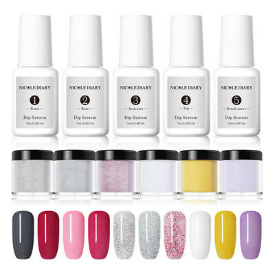 NICOLE DIARY 7ml Dipping System Powder Clear Dip Liquid NO UV Lamp Nail Art Kit