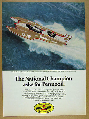 1978 Miss Budweiser U-12 Hydroplane Racing Boat photo Pennzoil vintage print Ad