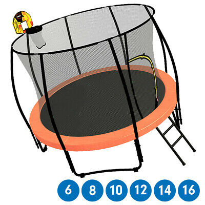 Trampoline Free Ladder Spring Mat Net Safety Pad Cover Round Enclosure Orange
