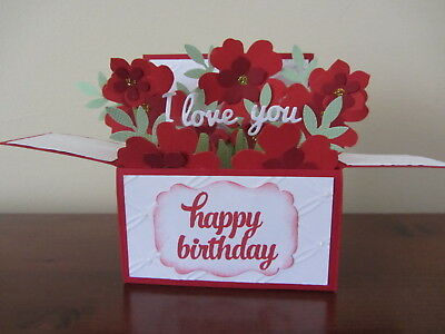 Handmade Birthday Card in a box -Red roses, PERSONALISED