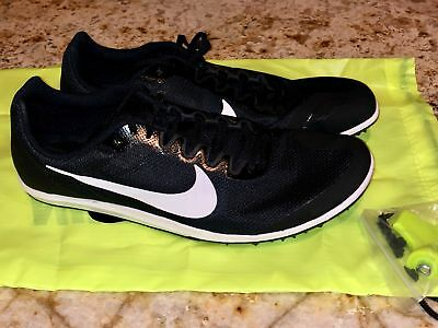 9159cb2a612e5 NIKE ZOOM RIVAL D 10 Black White Mid Distance Track Spikes Shoes NEW Mens 5  10.5