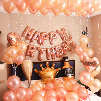ROSE GOLD 16th 18th 21st Number & Happy Birthday Foil Balloon Self-inflating NEW