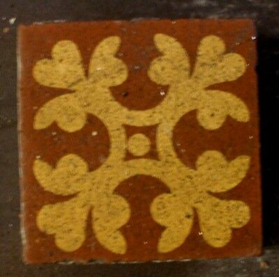 "Antique Victorian Gothic Church Encaustic Floor Border Motif Tile 2""x2"" 1 of 200"