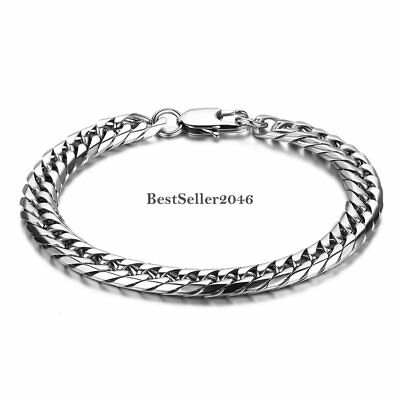 """Fashion Silver Tone Stainless Steel Flat Curb Link Chain Mens Cuff Bracelet 8.5"""""""