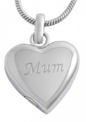 Silver Mum engraved Heart Cremation Necklace pendant for Ashes.