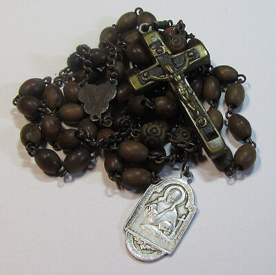 "† Xl Antique ""St Gabriel Of Sorrowful Mother"" Passionist Medal & Carved Rosary †"