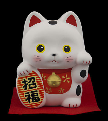 Grande Tirelire chat japonais 13cm ceramique Made in Japan Maneki Neko 40656
