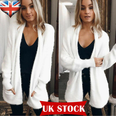 Womens Ladies Open Front Fluffy Long Sleeve Chunky Knitted Sweater Cardigan10-16
