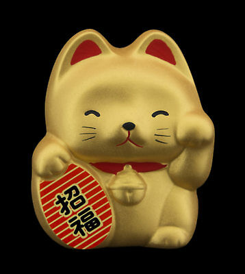 Tirelire Baby chat japonais doré 7cm ceramique Made in Japan Maneki Neko 40657