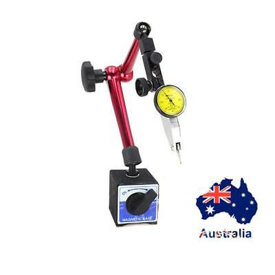 AU Useful Dial Test Indicator Gauge Scale Precision + Magnetic Base Holder Stand