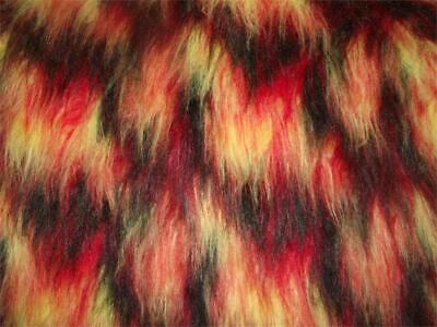 LONG Pile Fun Faux Fur Fabric Material BLACK/RED/YELLOW MIX