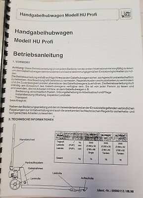 Operating Instructions Incl. Spare Parts List Little Mule Handgabelhubwagen Hu