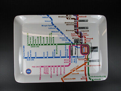 Chicago Melamin Servier Tablett Tray,38 cm,U Bahn Subway Netz,Neu