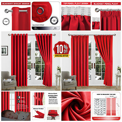 Thermal Blackout Ready Made Curtains Eyelet Ring Top OR Pencil Pleat + Tie Backs