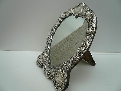 Silver Mirror, Sterling, Table, Dressing, English, Antique, Hallmarked 1900